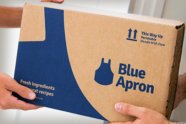 Blue Apron Falls After Amazon Files for Meal-Kit Trademark