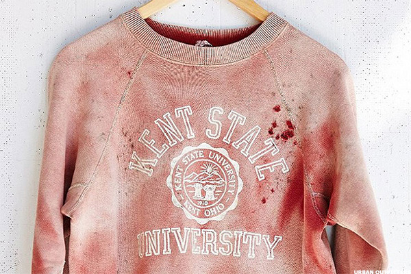 Ten Terrible Fashion Flubs  Beyond Urban Outfitters Kent State Bloody  Sweatshirt - TheStreet 4b6efa0b287