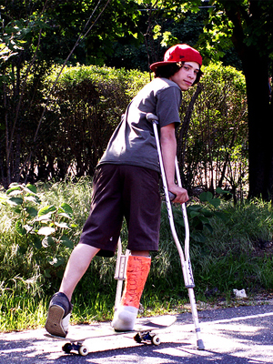 <b>Walking for Charity (With Broken Legs)</b>
