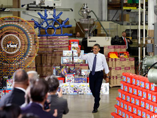 Obama, at K'Nex Toy Factory, Hammers GOP on Budget Reforms