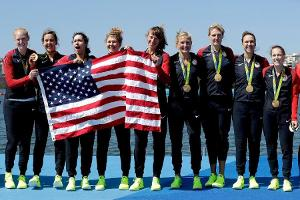 Olympic Gold Medal Winning Women Rowers Visit the New York Stock Exchange