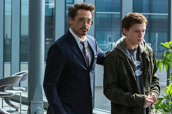 "Robert Downey Jr. and Tom Holland in ""Spider-Man: Homecoming"""