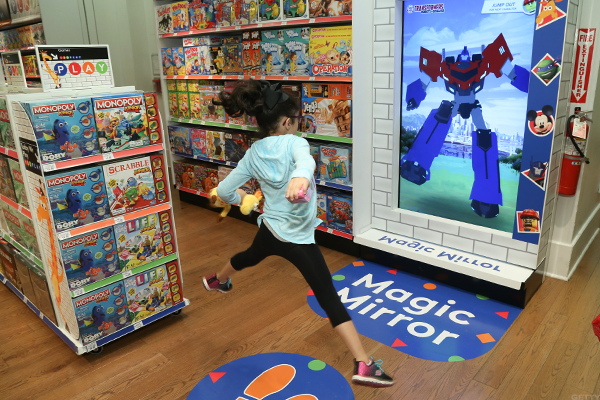 A child in a Toys 'R' Us store.
