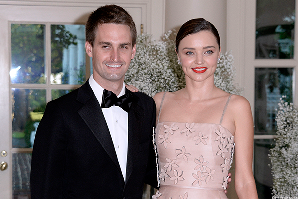 Snap CEO Evan Spiegel and his wife, supermodel Miranda Kerr.