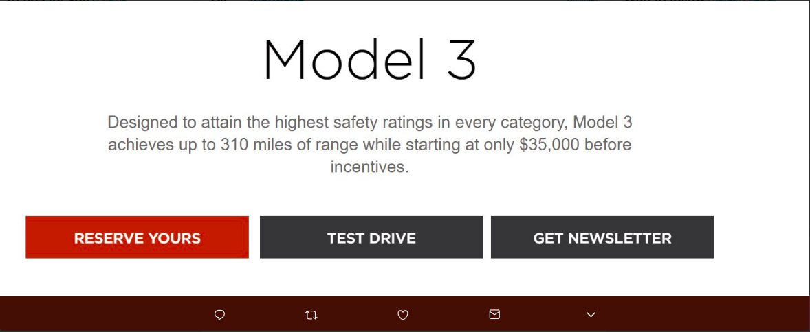 Screenshot of Tesla's website before latest revamp
