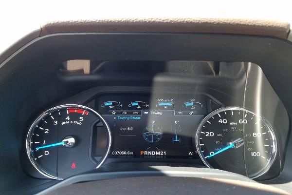 Digital screen gives you a towing status. Top speed for the King Ranch: 100 mph.
