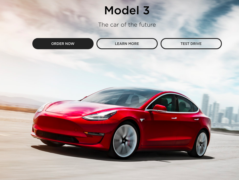 Latest screenshot from Tesla's website