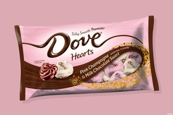 Dove Pink Champagne & Milk Chocolate Swirl Hearts