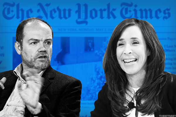 New York Times CEO Mark Thompson and new COO Meredith Kopit Levien.