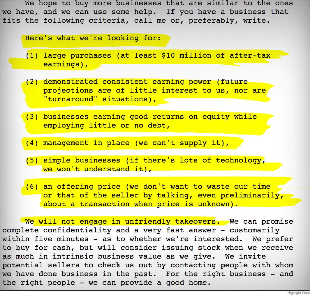 Warren buffett recalls black monday in berkshire letter thestreet berkshire criteria for potential acquisitions biocorpaavc Choice Image
