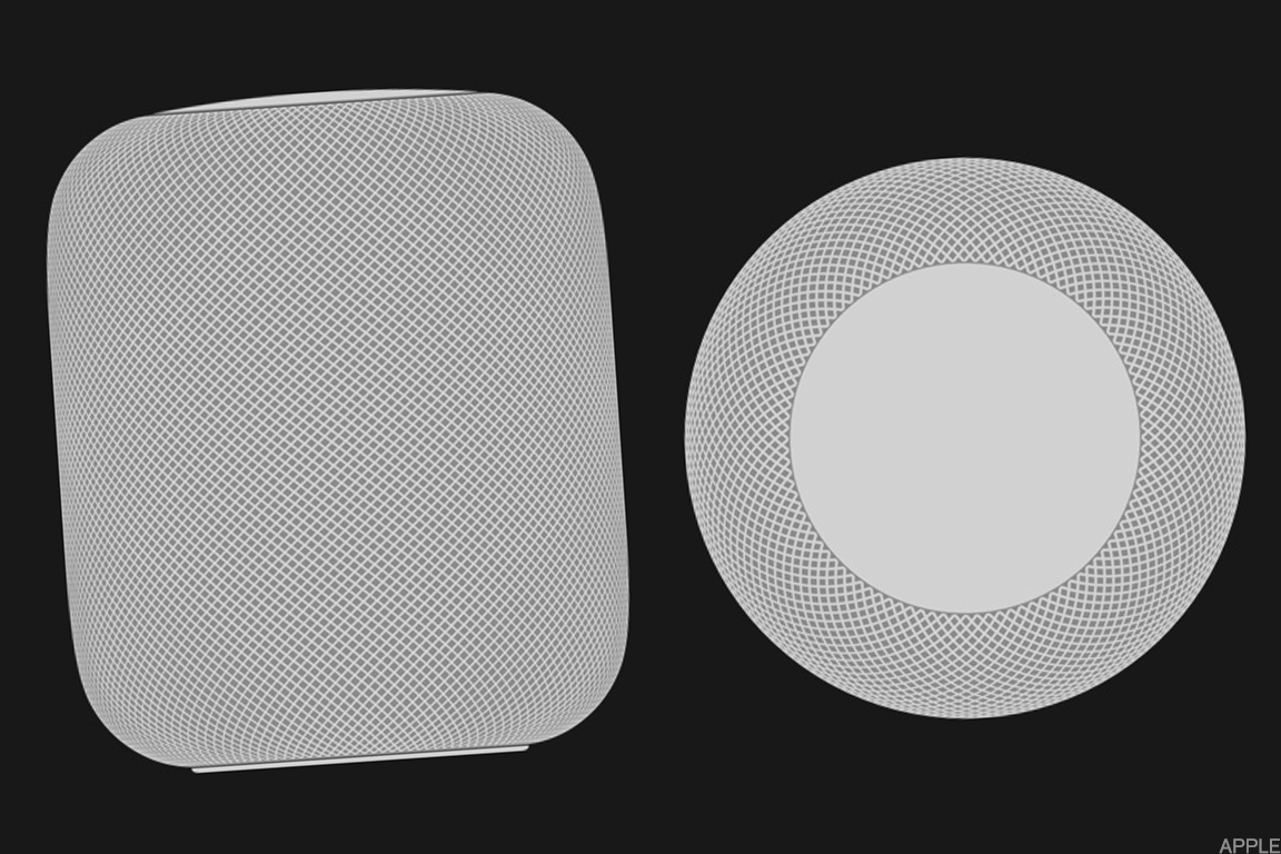 The Apple HomePod smart speaker.
