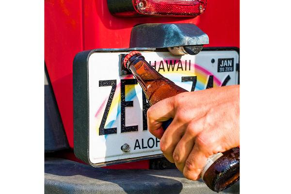 License Plate-Mounted Bottle Opener