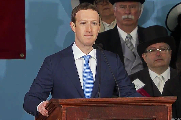 Mark Zuckerberg speaks at Harvard.