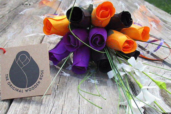 23. Black, Orange and Purple Wooden Rose Halloween Display