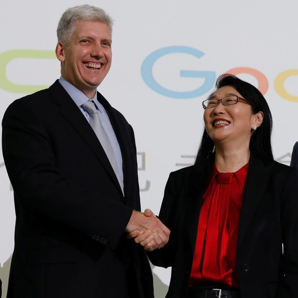 Google and HTC executives at a joint news conference Thursday. Source: South China Morning Post.