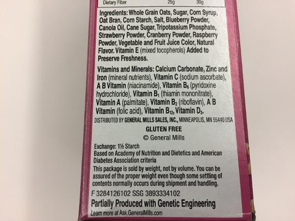 "Ingredients in General Mills' new ""Very Berry"" Cheerios"