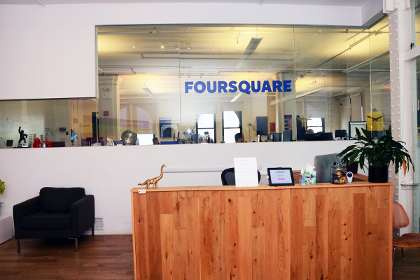 1. The front desk for Foursquare's N.Y. office where you can sign in using an iPad