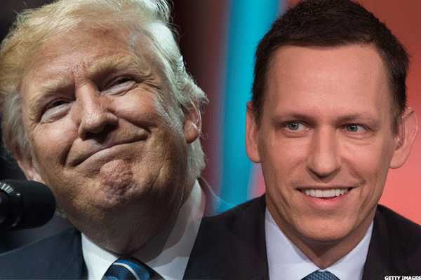 President Donal Trump and adviser Peter Thiel