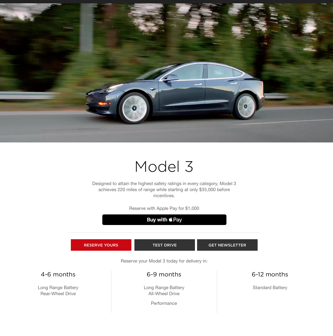 Tesla's Performance model is a 6-9 month wait for reservation holders who put up a $1,000 deposit today, according to the company's website.