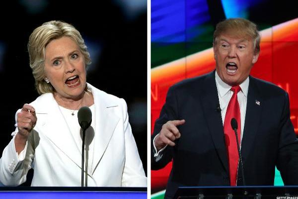 Here's Which Clinton and Trump Stocks Are Sinking the Most as Market Plunges