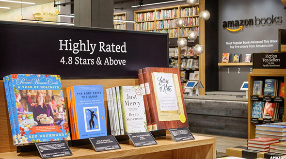 Amazon's new bookstores bring many elements of the online experience to physical locations.