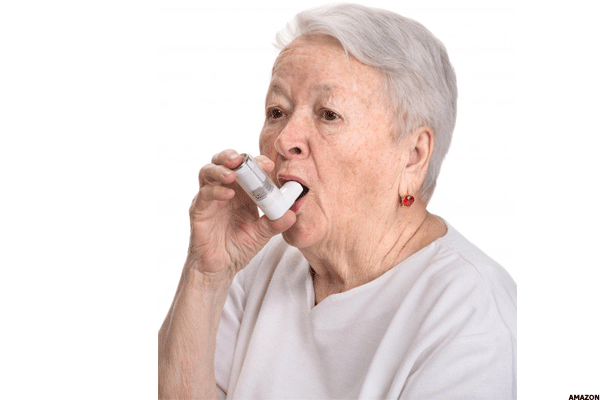 19. Senior woman with asthma inhaler wall decal