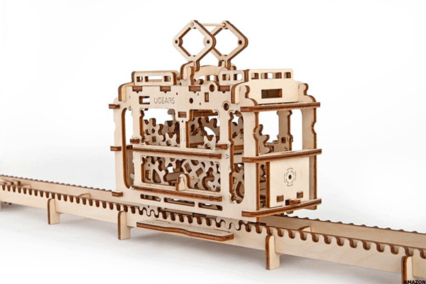 9. Ugears 3D Self-Propelled Tram With Rails