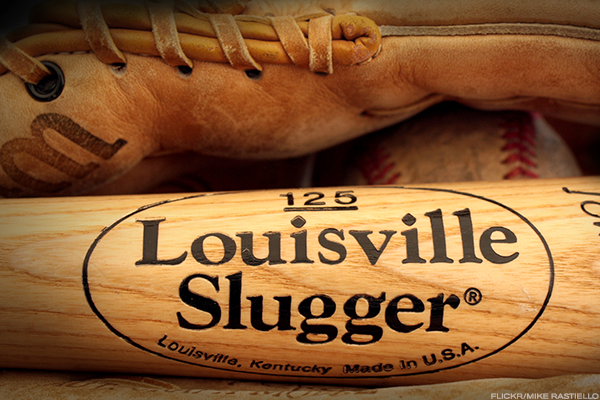 Louisville Slugger and bowling balls.