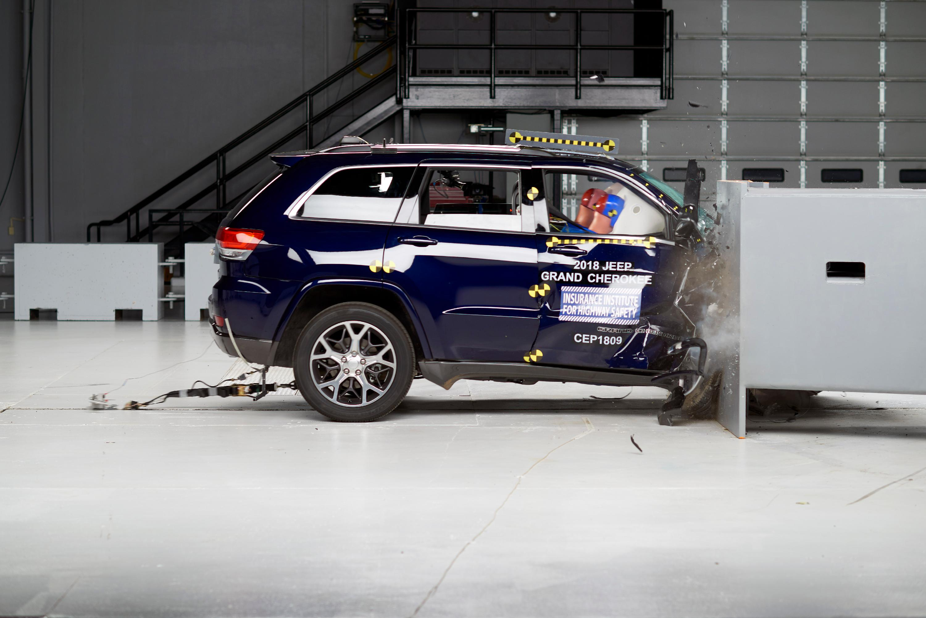 Source: Source: IIHS HLDIAction shot taken during the passenger-side small overlap frontal crash test.
