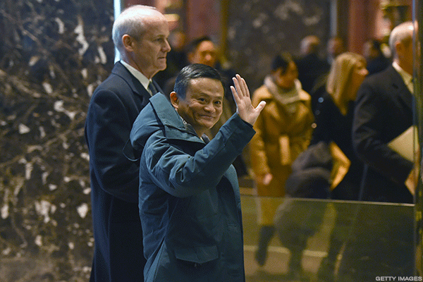 Alibaba's Jack Ma with President Trump.