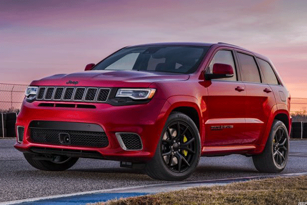 Jeep Grand Cherokee Trackhawk with supercharged V8 engine.