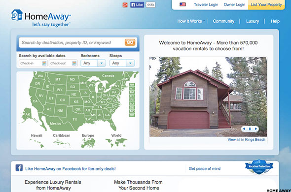 The HomeAway website.