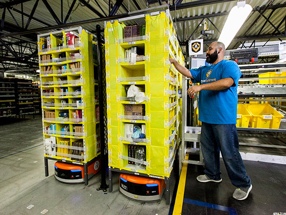 An Amazon warehouse worker.