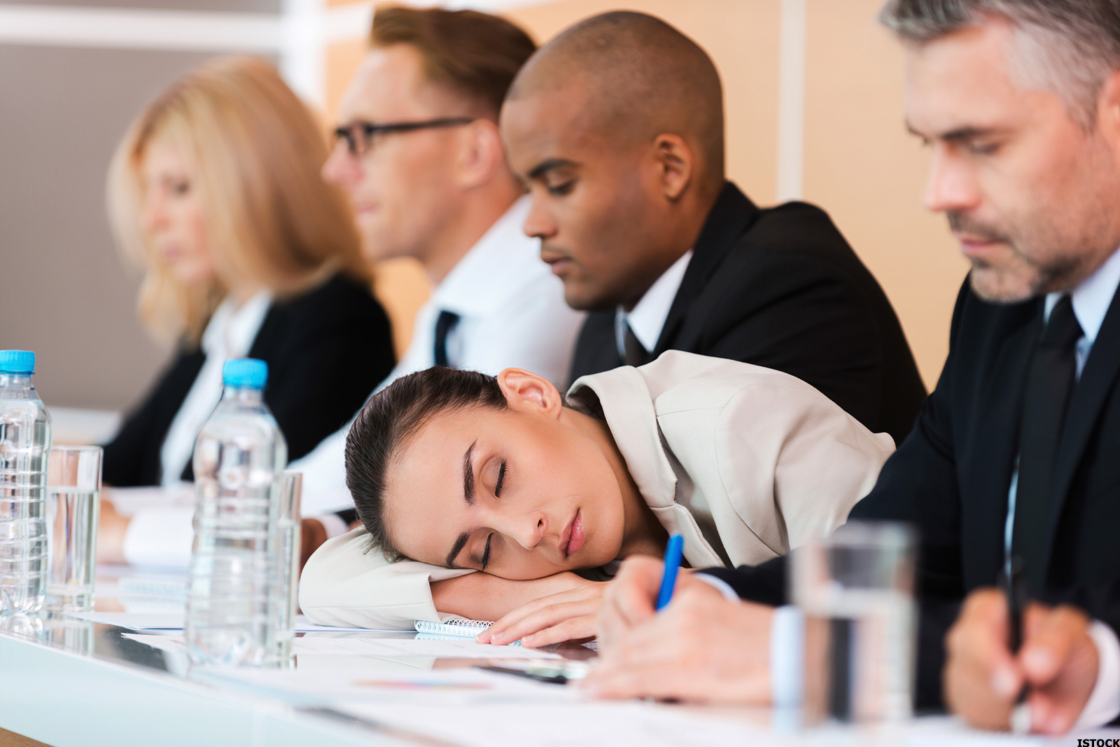 sleeping conference tired sleep meetings hours table night four meeting engineering during person unhappy businesswoman conferences better reasons asleep job