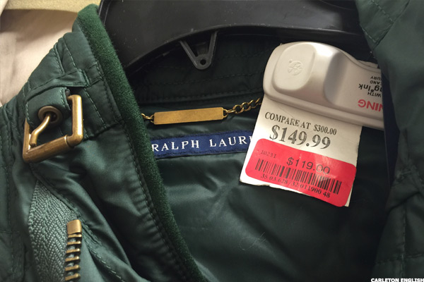 A discount Ralph Lauren jacket at T.J. Maxx.